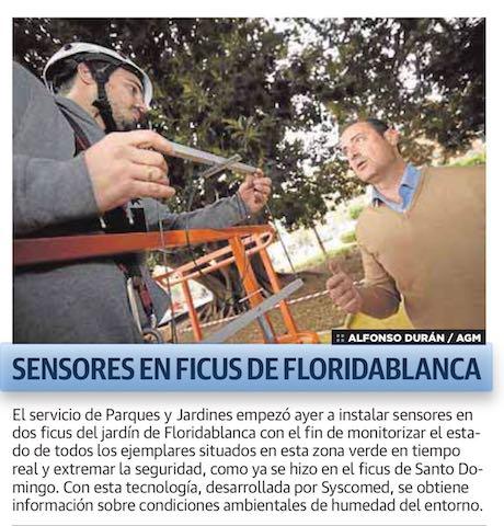 SYSCOMED INSTALA SENSORES IoT EN FICUS DEL JARDÍN DE FLORIDABLANCA